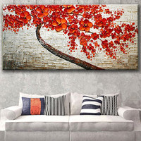 Handmade Knife Flower Oil Painting on Canvas Modern Abstract Home Decor Wall Art Red Floral Paintings Pallete Large Pictures
