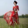 2017 Spring and Summer New Fashion Half Sleeve Chiffon Print Ultra Long Dress Expansion Bottom Holiday Floor-length Beach Dress