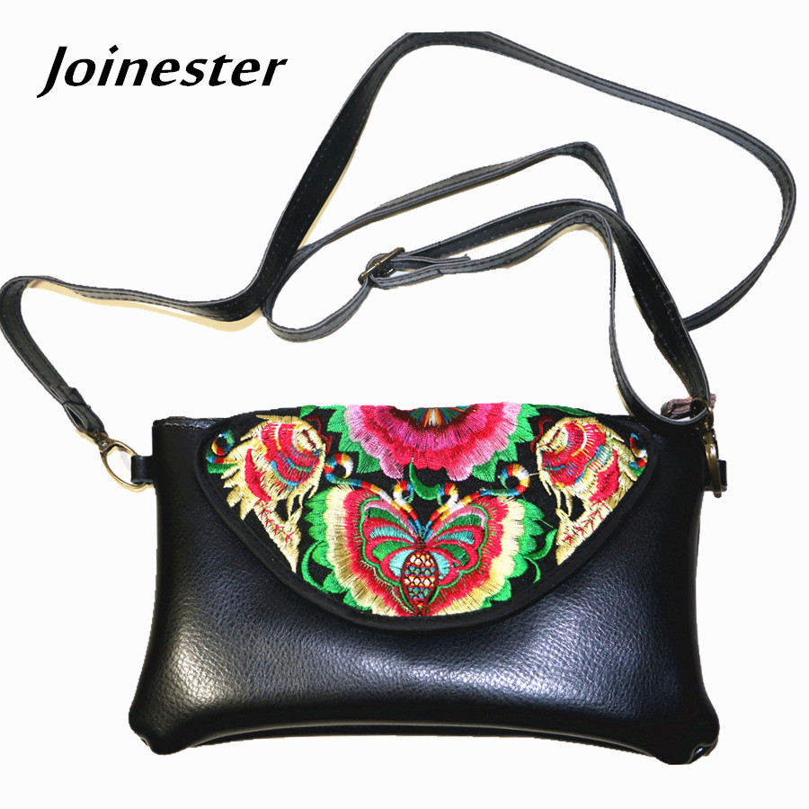 Women Purse Hand-Clutch Sling-Bag Card-Coin-Holder Embroidery Ethnic-Flower Long Ladies