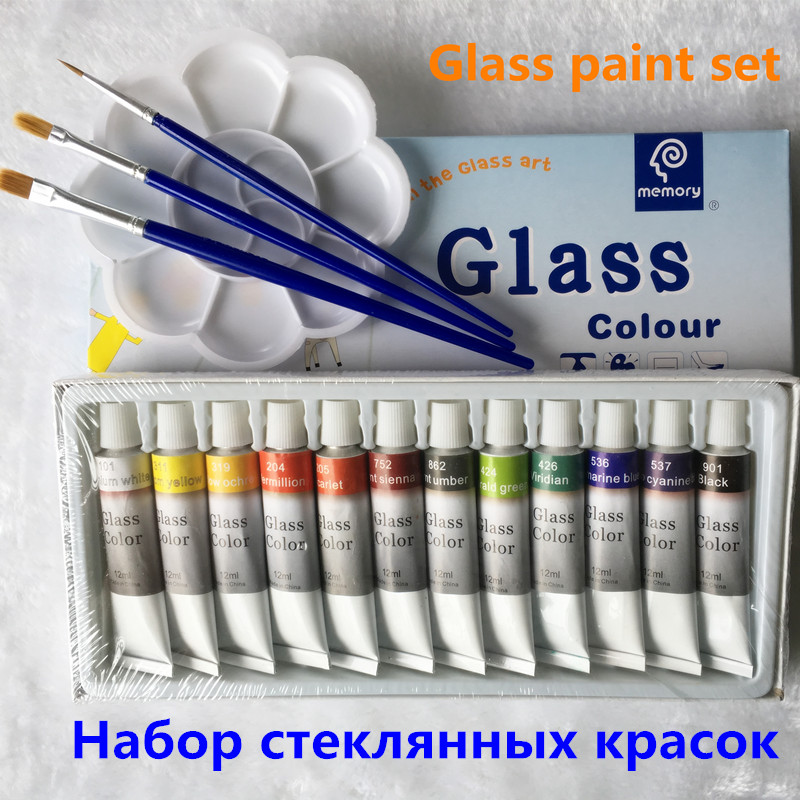 Glass Paint Color Acrylic Paint Hand Painted Pigments 12 Colors 12ML Color Set Free For Brush And Paint TrayGlass Paint Color Acrylic Paint Hand Painted Pigments 12 Colors 12ML Color Set Free For Brush And Paint Tray