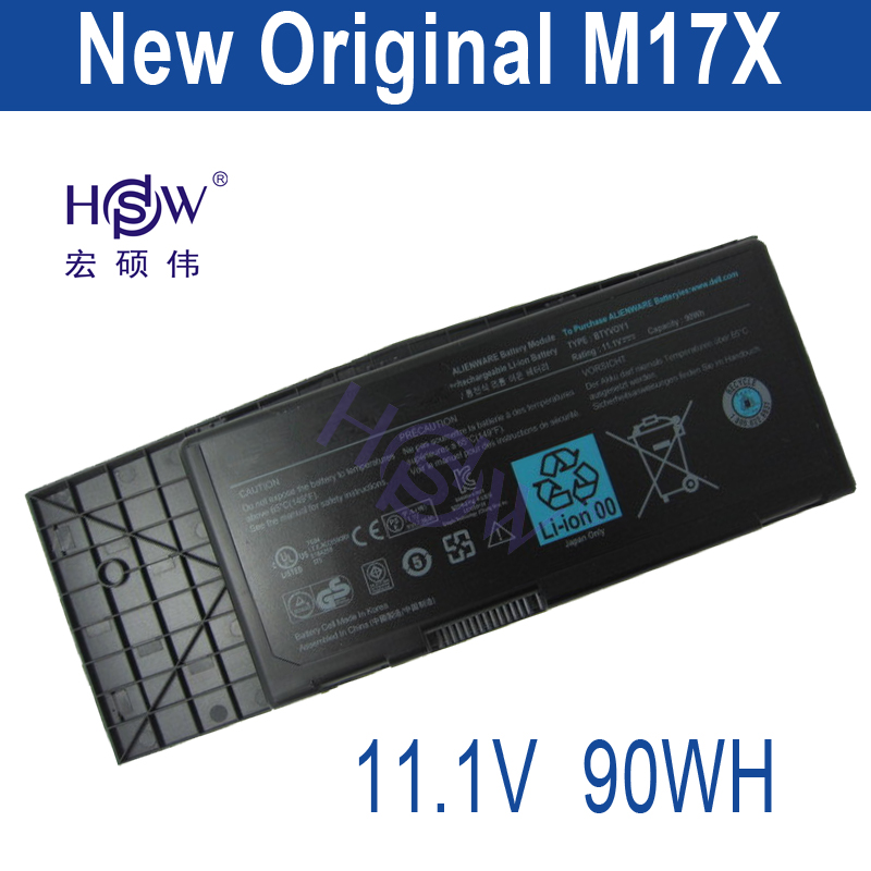 HSW  battery 11.1V 90WH  For Dell Alienware M17x R3 0C852J 0F310J 312-0944 C852J F310J H134J  bateria akku