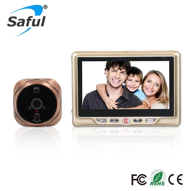 Saful 4,3 pulgadas LCD puerta Cámara grabable Digital mirilla grabación de vídeo detección de movimiento puerta ojo timbre video puerta visor