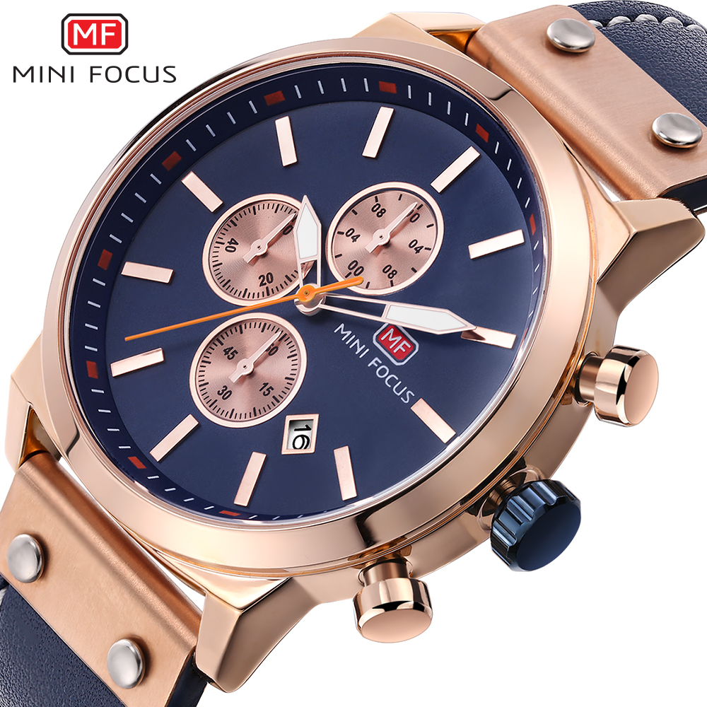 MINI FOCUS Brand Luxury Chronograph Rose Gold Men's Quartz Military Sport Watches Men Date Analog Clock Male Leather Strap Watch xinge top brand luxury leather strap military watches male sport clock business 2017 quartz men fashion wrist watches xg1080