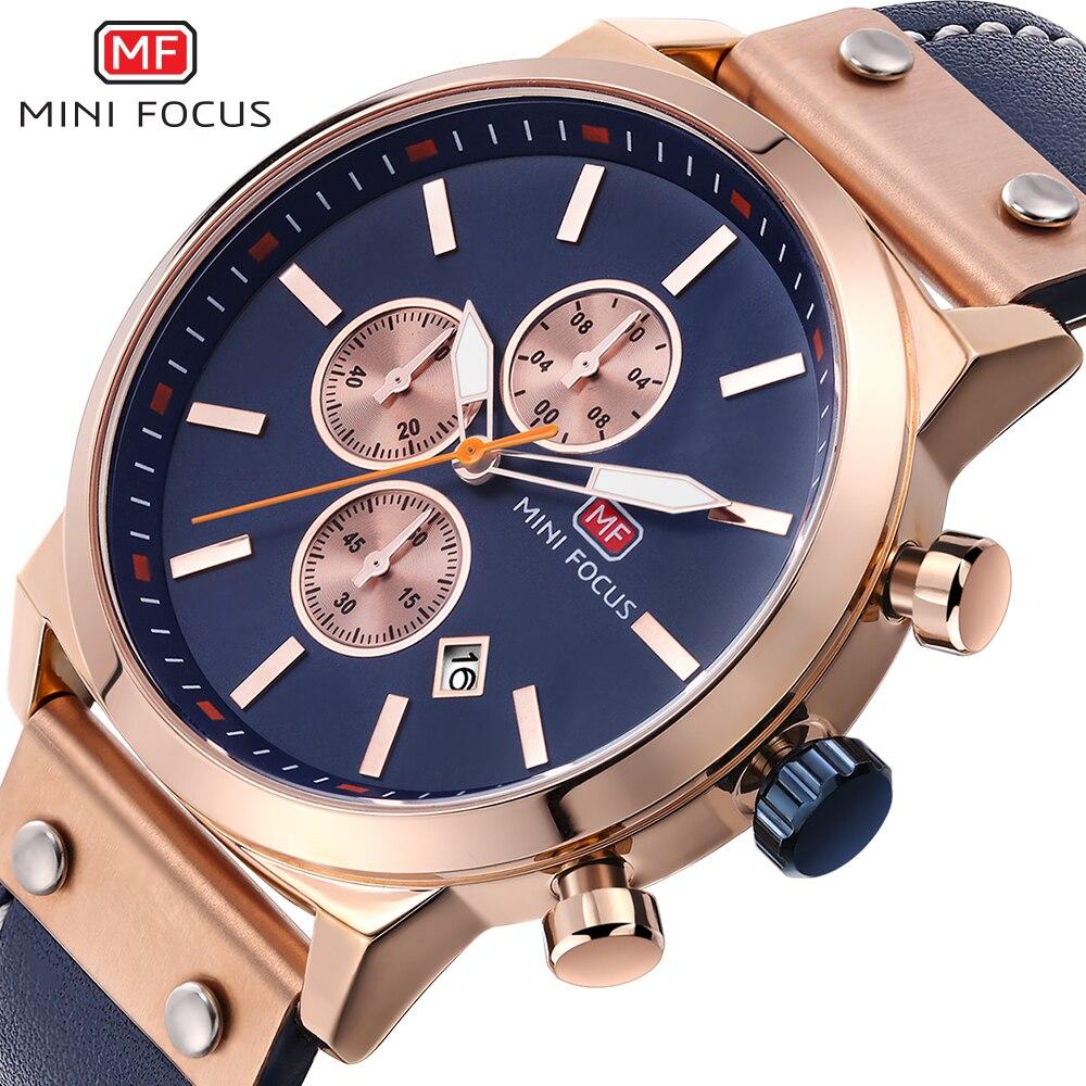 MINI FOCUS Marque De Luxe Chronographe Or Rose Hommes de Quartz Militaire Sport Montres Hommes Date Analogique Horloge Mâle Bracelet En Cuir montre