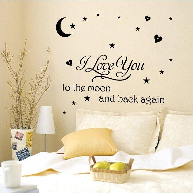 Creative i love you to the moon and back again little prince with moon star wall
