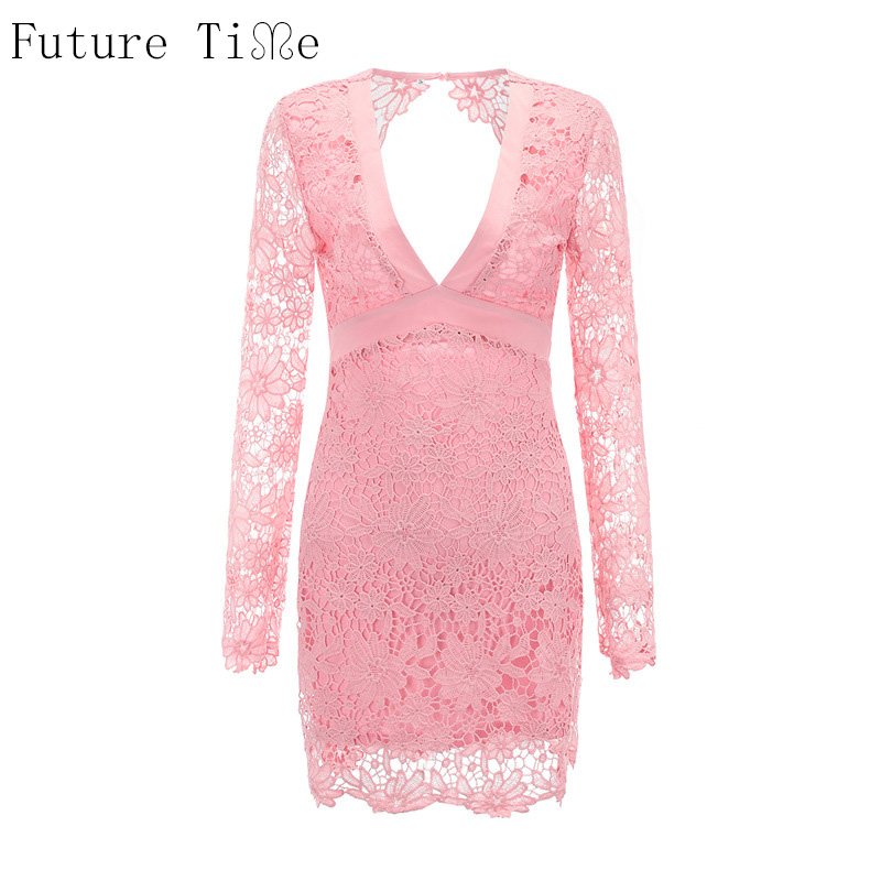 Future Time Pink Lace Women Dress Sexy Backless Hollow Out Party Dress Summer Sexy Back Bow Tie Long Sleeve Dress Halter vestido