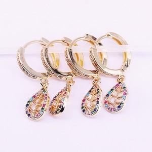 Image 3 - 5 paires mélange Style or rempli arc en ciel CZ zircone pavé hamsa main/croissant boucle doreille pendante, mode femmes bijoux délicats