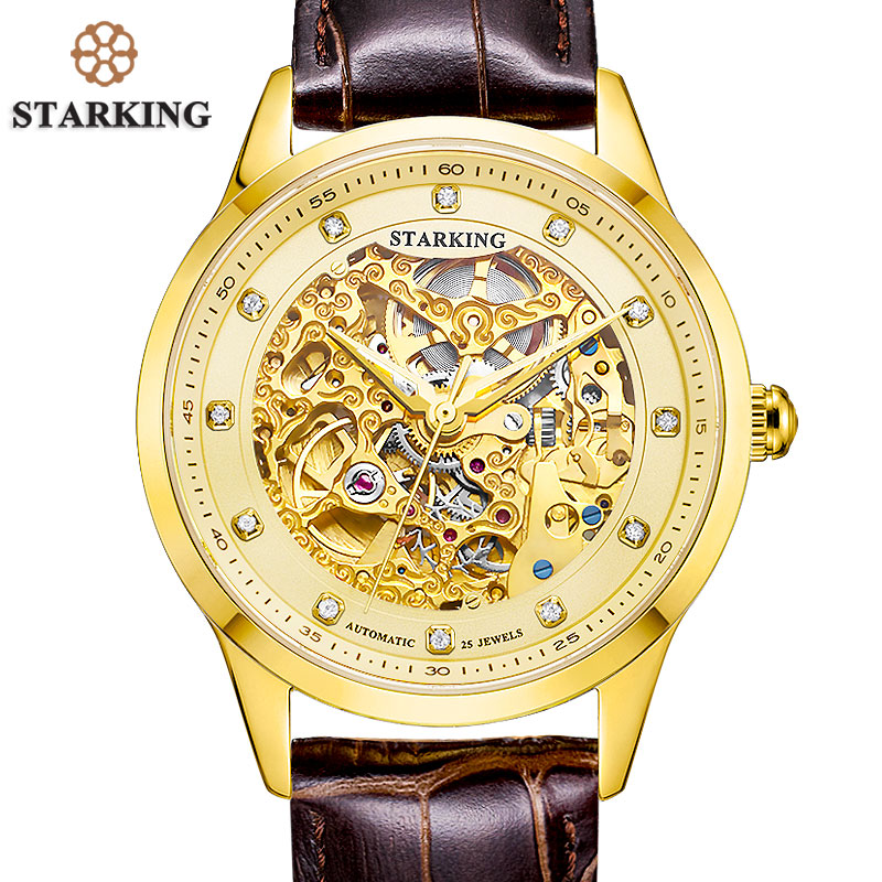 STARKING Golded Automatic Mechanical Skeleton Watch Men Geneva 2016 New Arrival Luxury Brand Genuine Leather Strap Retro Watch