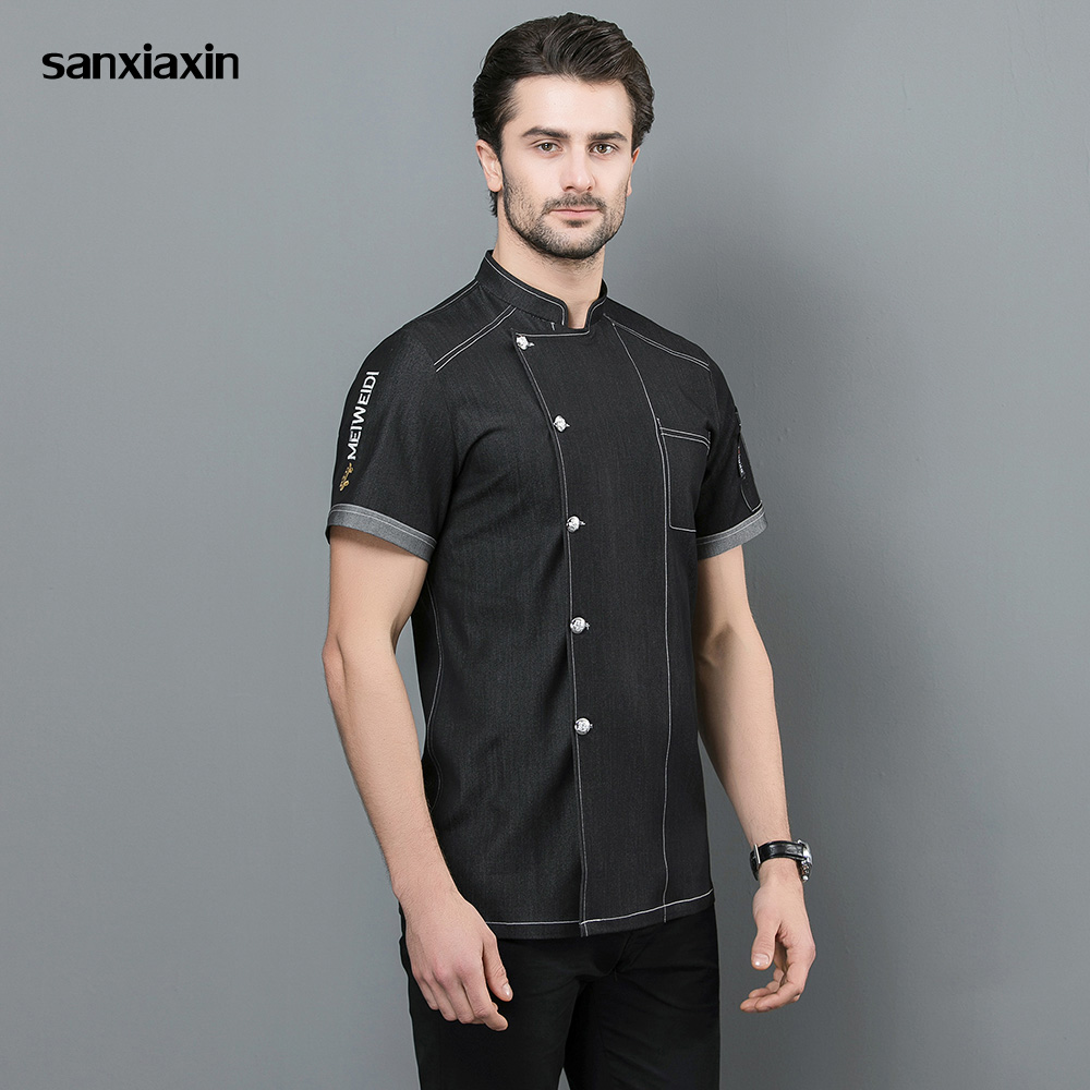 Sanxiaxin Restaurant Uniforms Breathable Short Sleeved Food Service Chef  Embroidery Hotel Kitchen Work Clothes Men New 3-colors