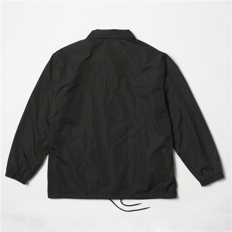Nylon hip hop streetwear plain black coach jacket vintage waterproof lightweight windbreaker for men