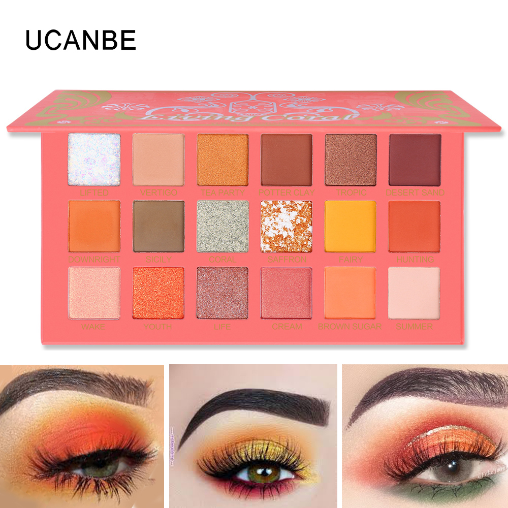 Image 4 - UCANBE 2pcs/lot Eye Shadow Palette Makeup Set Matte Shimmer Glitter Pearlescent Powder Orange Yellow Green Summer Makeup Look-in Eye Shadow from Beauty & Health