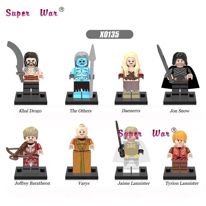 8pcs Game of Thrones Tyrion Lennister Jon Snow Varys Khai Drogo Daenerys building blocks model bricks toys for children