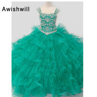 Green / Red Ball Gown Girl's Pageant Dresses Cap Sleeve Beaded Tiered Organza Vestidos De Primera Communion Flower Girl Dresses