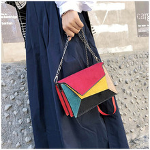 2019 Fashion Quality Leather Patchwork Women Messenger Bag Female Chain Strap Shoulder Bag Small Criss-Cross Ladies' Flap Bag