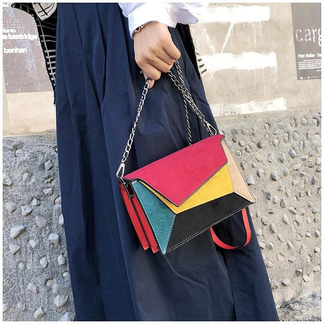 Bolso de moda de cuero de calidad de retazos de mujer bolsa de mensajero correa de cadena bolso de hombro pequeña cruz de mujer bolsa de solapa