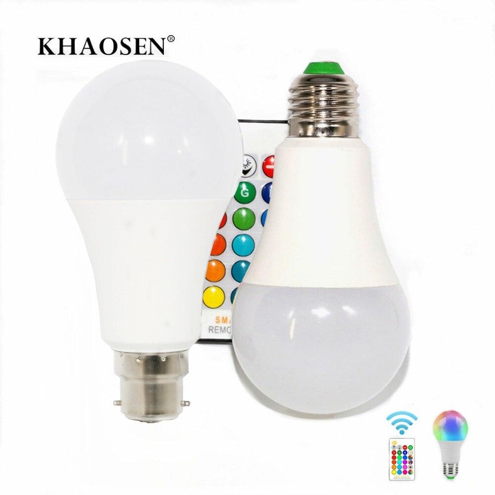 LED Bulb RGBW Light E27 B22 RGB LED Lamp 5W 10W 15W 85-265V 110V 220V + IR Remote Control 16 Color Change Christmas Lampada LED