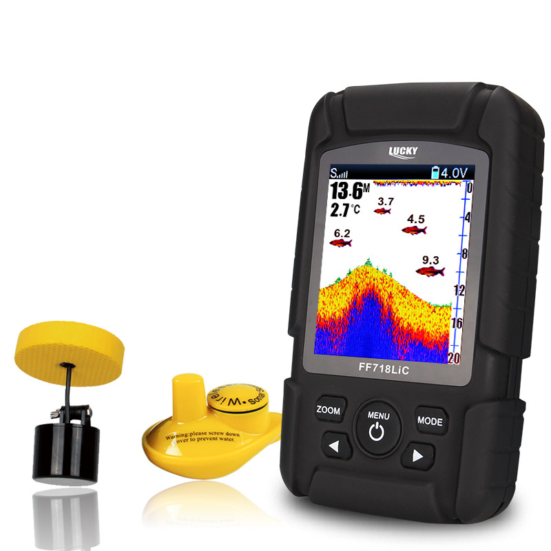 Lucky Brand Fish Finder LUCKY Brand Fish Finder Waterproof Monitor 2-in-1 Wireless Sonar Wired Transducer Carp Fishing FF718LiC lucky fishing sonar wireless wifi fish finder 50m130ft sea fish detect finder for ios android wi fi fish finder ff916