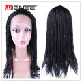 Braided Lace Front Synthetic Wig For Black Women Crochet Twist Braids Faux Locs Hair Black Wig Natural Cheap Hair Cosplay Wig