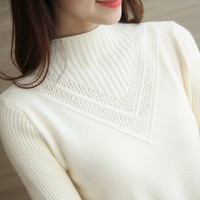 Cashmere Women Sweaters And Pullovers Turtleneck Winter Knitted Women Soft Hollow Out Sweaters Female Jumper Tricot