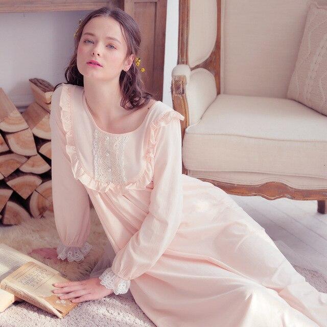 bbb10d1dea27 2018 Autumn Women Gowns Pure Cotton Royal Nightgown Ladies High Quality Sleepwear  Women Night wear Retro Style Dress QW1874