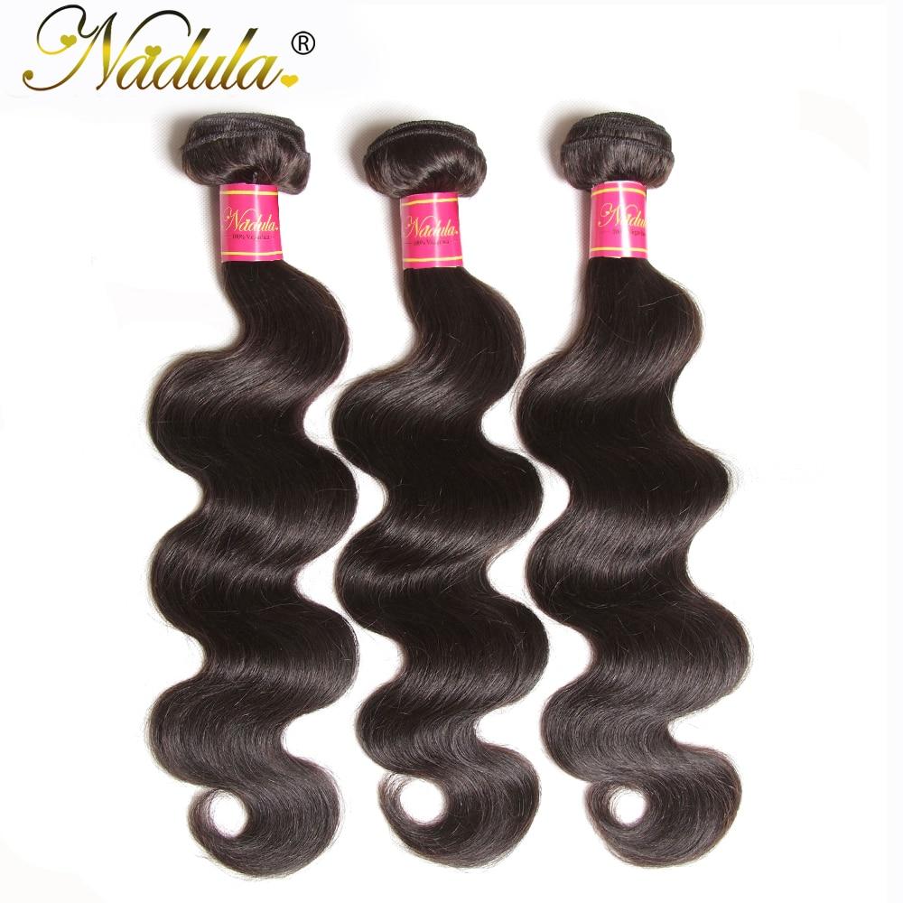 NADULA HAIR 3 / 4pcs / Lot Malayziya Bədən Dalğalı Saç - İnsan saçları (qara üçün) - Fotoqrafiya 1