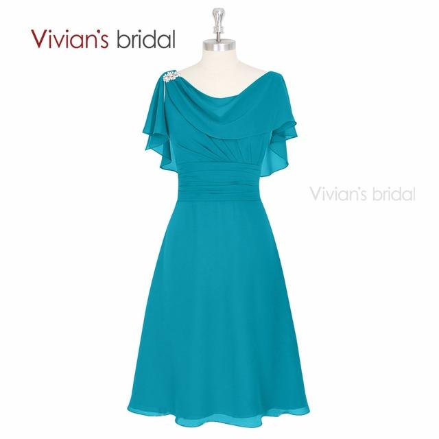Vivian Nupcial Na Altura Do Joelho curto mãe dos vestidos de noiva Beading Chiffon Vestidos de Noite Formais