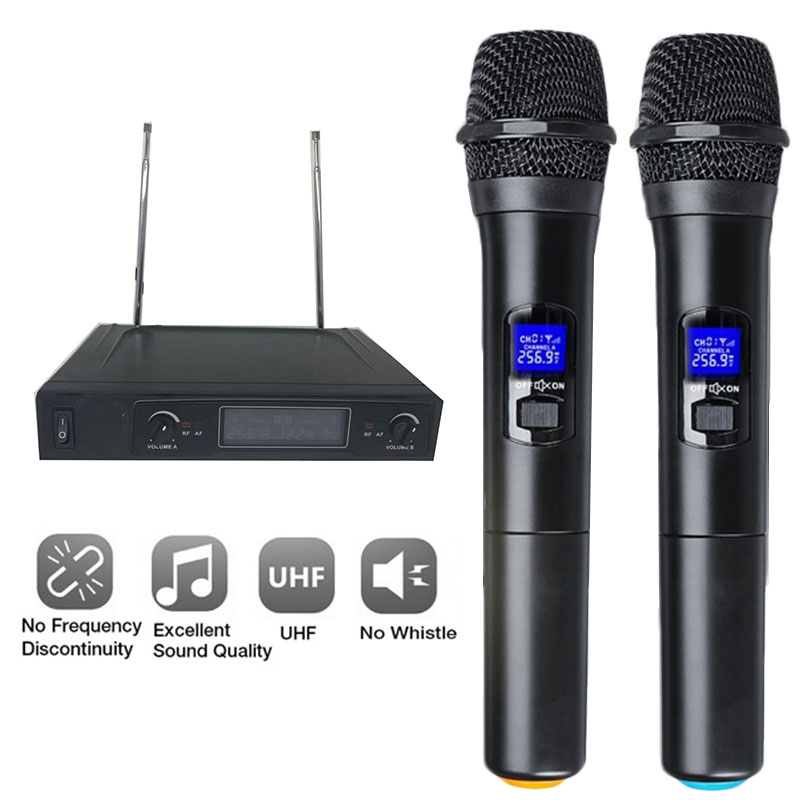 Système de Microphone sans fil professionnel UHF double microphone à main sans fil Kit de micro sans fil 2 canaux pour karaoké en Studio