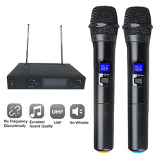 лучшая цена Wireless Microphone System Professional UHF Dual Cordless Handheld microphone 2 Channel Cordless Mic Kit For Studio Karaoke