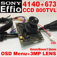 "Real 800tvl 1/3 ""Sensor de Sony CCD Effio4140 + 673 cvbs analógica ahdl hd Mini lente chip módulo Monitor 8 /12/6mm 3.0mp optiona OSD meun tomando"