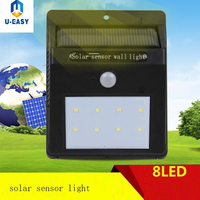 U-EASY 2Pcs 8 LED Solar Light PIR Motion Sensor Wall Lamp Outdoor Waterproof Garden Lamp Solar Wall Emergency Outdoor Lighting