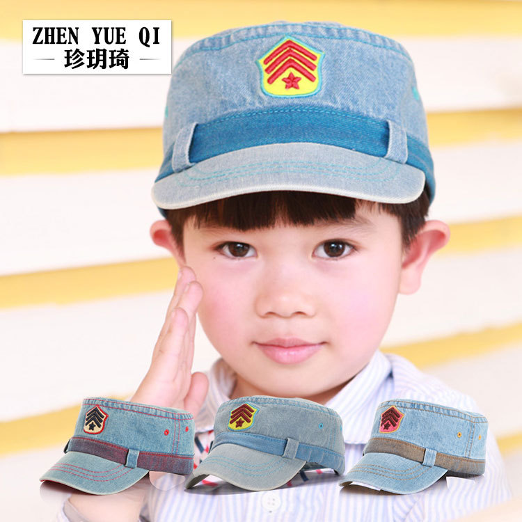 Children's flat cap kindergarten Chaobao old cowboy army cap pure cotton cap for men and women(China)