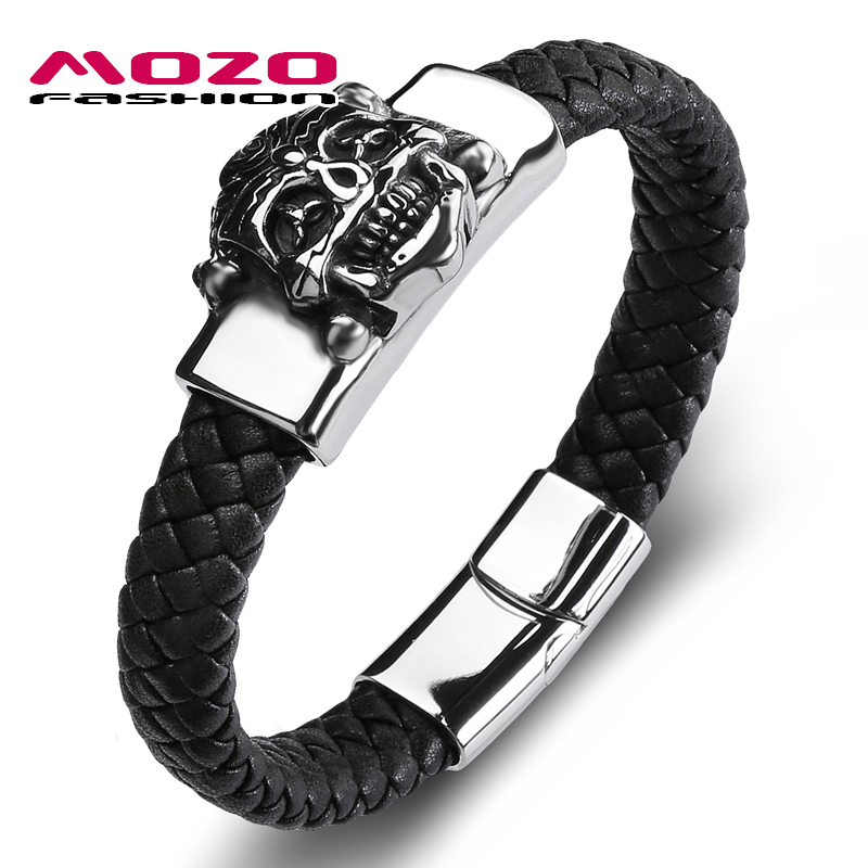 MOZO FASHION 2018 Punk Men Bracelet Black Leather Skeleton Stainless Steel Demons Bracel ...