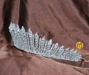 Image 3 - Awesome Miss Beauty Pageant Tiara Crown Clear Crystals Brides Headband Hair Accessory Wedding Bridal Prom Party Costumes 318g