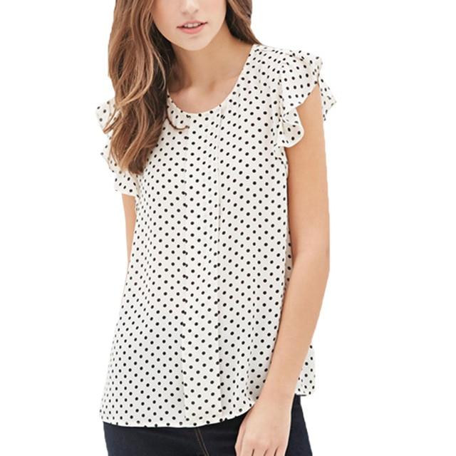 Лето с рукавом-бабочкой горошек блузки Мода o-образным вырезом Для женщин Шифоновая Блузка белый черный Цвет рубашка