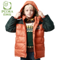 PCORA Kids Boys Down Coat X-Long Winter Thick Jacket Orange Hooded Zipper Closure Winter Children Outwear Clothes Keep Warm