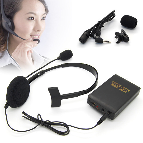 Handsfree Tie Clip Lapel Microphone +Headset Studio Wireless FM Microphone Mic Transmitter & Receiver Kits for Teacher Server