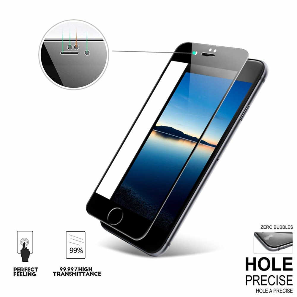 3 uds. Protector de pantalla de cubierta completa para iPhone X XR XS Max vidrio templado para iPhone 5 6 7 8 Plus película de vidrio Protector