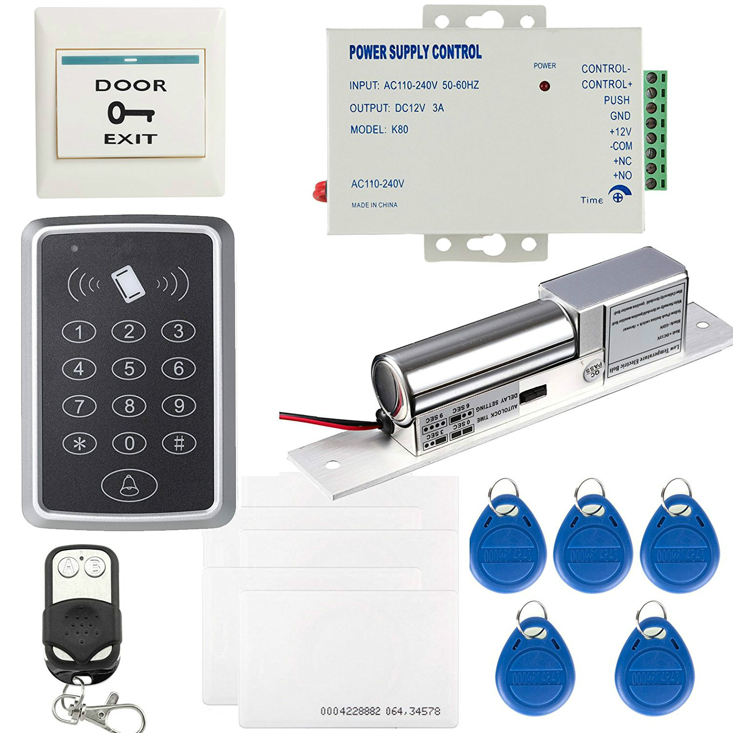 OBO HANDS 125KHz RFID Full Complete Keypad Single Door Access Control Kit Tags Electric Bolt Lock Bell Remote Exit Button full kit access control biometric fingerprint x6 electric strik lock power supply exit button door bell remote control key cards