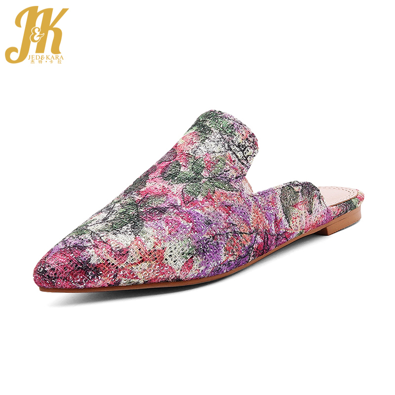 JK 2018 Summer Mules for Women Shoes Colored Vamp Pointed Slippers Woman Shoes Casual Flats Ladies Footwear Big Size Slides