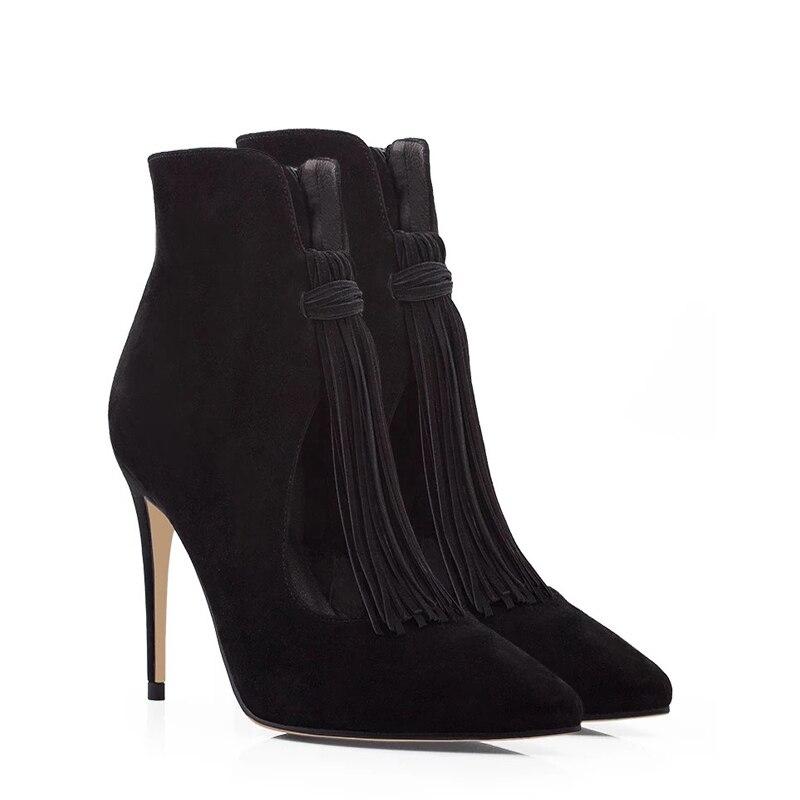 Franja Superior Fretwork Zapatos Primavera Suede Borla En Botas Show Deslizamiento Mujeres Otoño Punta Elegante As Negro 7fT1Oqwq