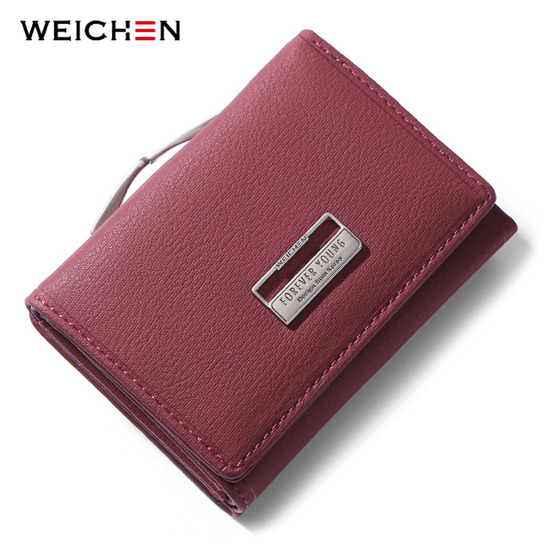 WEICHEN Fashion Trifold Ladies Wallets With Clip Coin Pocket Card Holder Brand Small Wallet Women High Quality Female Purse