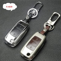 Jingyuqin Zinc Alloy Leather Car Key Cover Case For VW Skoda Seat Octavia A5 A7 Rapid
