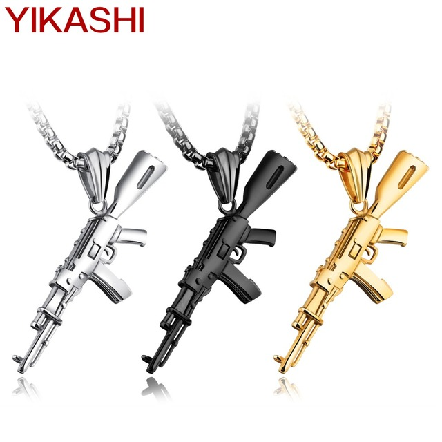 2017 New Men Stainless Steel Gun Punk Pendant Necklace Men's Charm  Link Chain Pistol Necklace Jewelry Gifts for Sports Lovers