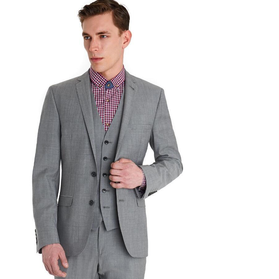 New Arrival Groom Tuxedos Light Grey Groomsmen Notch Lapel Best Man Suit Bridegroom Wedding Dinner Suits (Jacket+Pants+Vest)