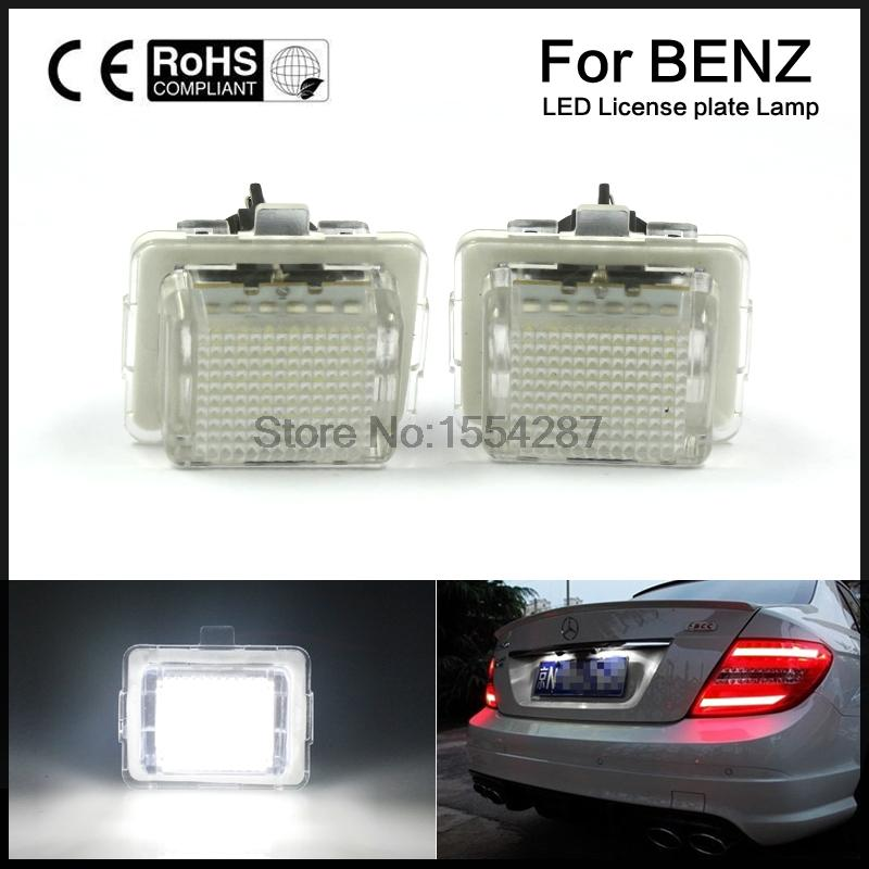 2pcs direct fit Mercedes white LED License Plate Light Set Error Free Benz W221 C216 W212 W204 C207 motorcycle tail tidy fender eliminator registration license plate holder bracket led light for ducati panigale 899 free shipping
