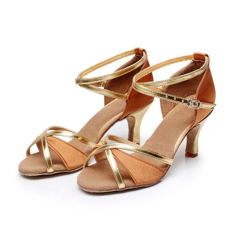 ab4d602215 Brand New Ballroom Tango Salsa Sapatos de Dança Latina das Mulheres Criss  Cross Strap Fivela de Metal Sapatos de Dança 7 cm Salto Alto Vendas quentes