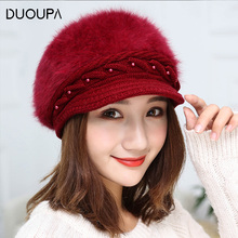 New Winter Female Wool Cap, Eyelid Pearl Rabbit Hair Pure-colour Beret Duck Tongue Autumn and Knitted Cap