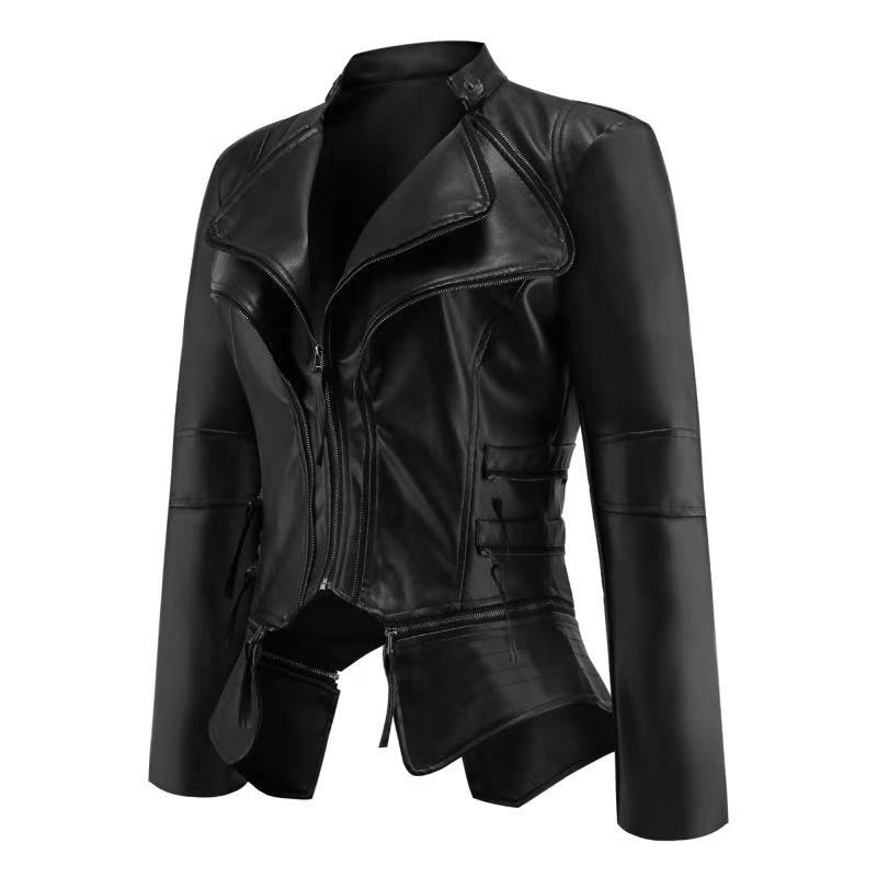 Women Coat  Jacket Women Winter Autumn Fashion Motorcycle Jacket Black faux leather coats Outerwear