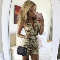 Sequins Sexy Slim Playsuit Sequined Women Stripe V Neck Bodycon Romper Shiny Club Party Jumpsuit Overall Femme
