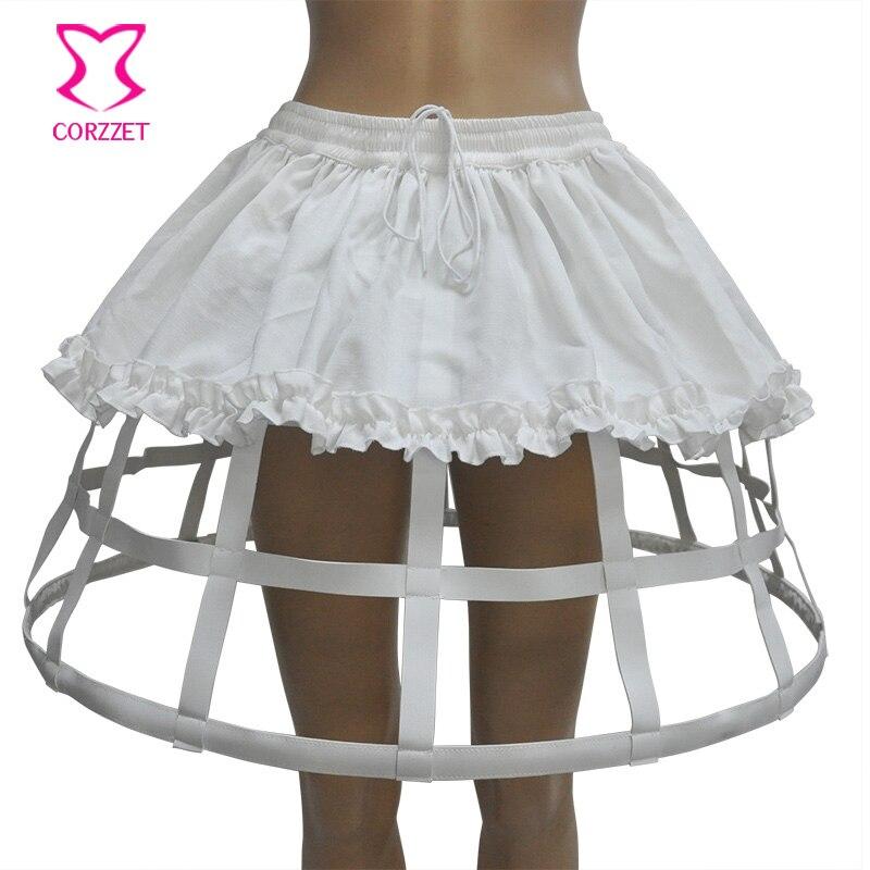 Белые 4 Обручи из искусственной кожи и льна, бальное платье в стиле Лолиты, Нижняя юбка для свадьбы, корсет, юбка, сексуальные готические юбки
